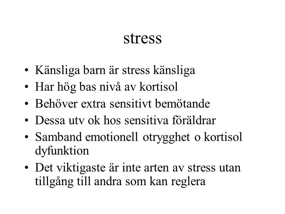 stress Känsliga barn är stress känsliga Har hög bas nivå av kortisol Behöver extra sensitivt bemötande Dessa utv ok hos sensitiva föräldrar Samband em