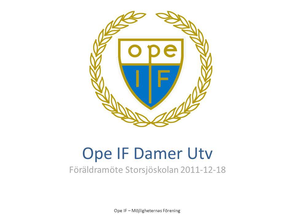 Ope IF – Möjligheternas Förening Ope IF Damer Utv Föräldramöte Storsjöskolan 2011-12-18