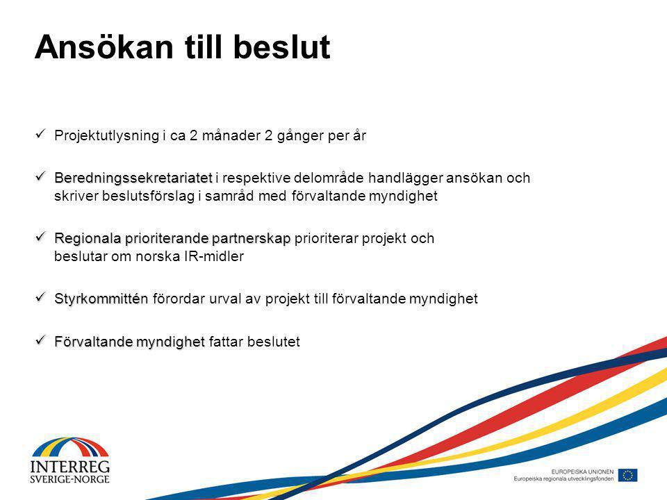 Ansökan till beslut Projektutlysning i ca 2 månader 2 gånger per år Beredningssekretariatet Beredningssekretariatet i respektive delområde handlägger ansökan och skriver beslutsförslag i samråd med förvaltande myndighet Regionala prioriterande partnerskap Regionala prioriterande partnerskap prioriterar projekt och beslutar om norska IR-midler Styrkommitté Styrkommittén förordar urval av projekt till förvaltande myndighet Förvaltande myndighet Förvaltande myndighet fattar beslutet