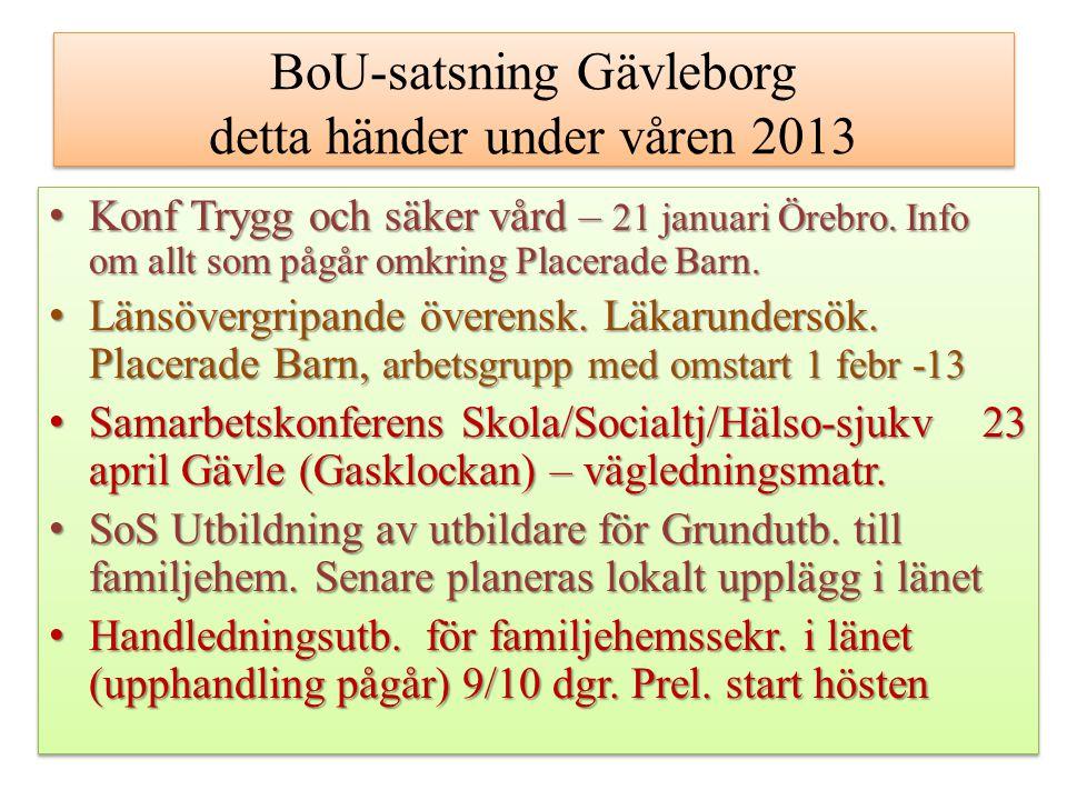 BoU-satsning Gävleborg detta händer under våren 2013 Konf Trygg och säker vård – 21 januari Örebro. Info om allt som pågår omkring Placerade Barn.Konf