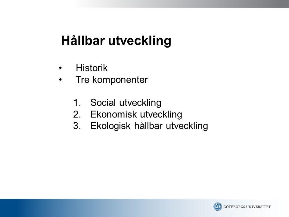 Hållbar utveckling Historik Tre komponenter 1. Social utveckling 2. Ekonomisk utveckling 3. Ekologisk hållbar utveckling