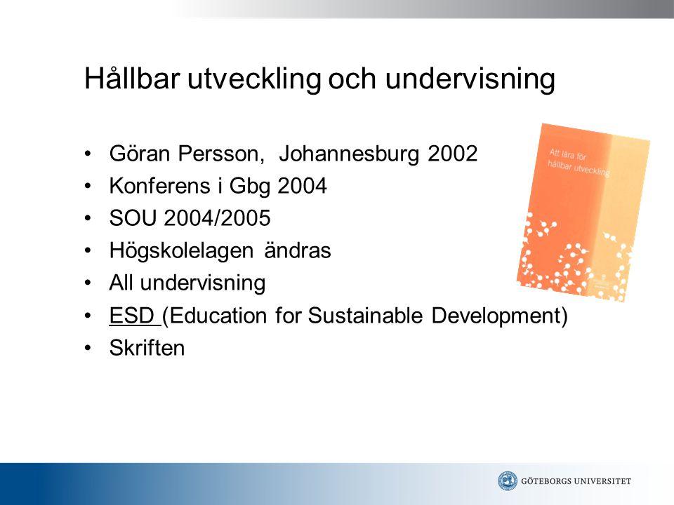 Hållbar utveckling och undervisning Göran Persson, Johannesburg 2002 Konferens i Gbg 2004 SOU 2004/2005 Högskolelagen ändras All undervisning ESD (Education for Sustainable Development) Skriften