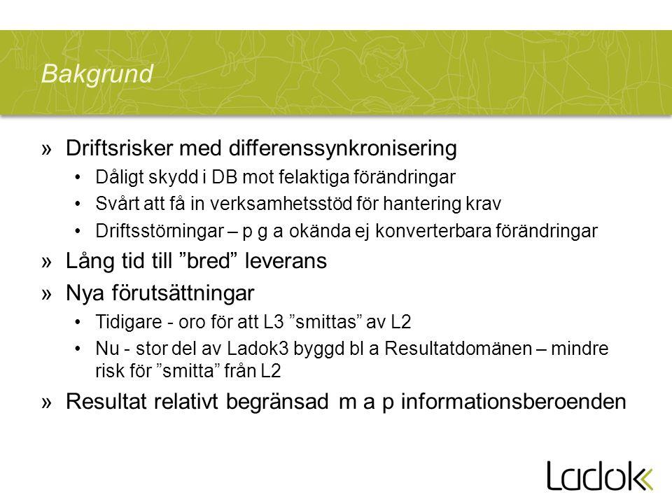 Bakgrund »Driftsrisker med differenssynkronisering Dåligt skydd i DB mot felaktiga förändringar Svårt att få in verksamhetsstöd för hantering krav Dri