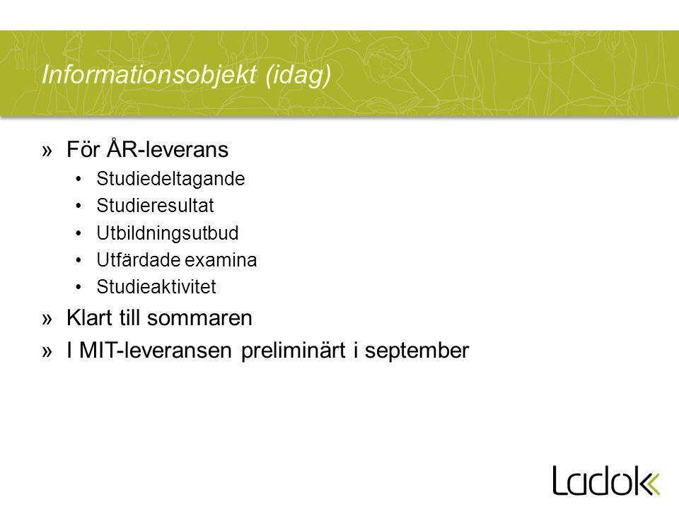 Informationsobjekt (idag) »För ÅR-leverans Studiedeltagande Studieresultat Utbildningsutbud Utfärdade examina Studieaktivitet »Klart till sommaren »I