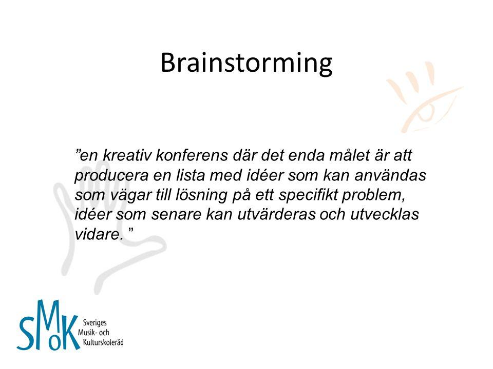 """Brainstorming """"en kreativ konferens där det enda målet är att producera en lista med idéer som kan användas som vägar till lösning på ett specifikt pr"""