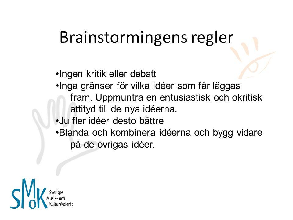 Brainstormingens regler Ingen kritik eller debatt Inga gränser för vilka idéer som får läggas fram. Uppmuntra en entusiastisk och okritisk attityd til