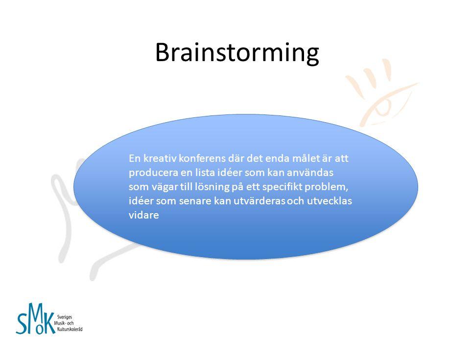 Brainstorming Ingen kritik eller debatt Inga gränser för vilka idéer som får läggas fram Ju fler idéer desto bättre Blanda och kombinera idéerna Bygg