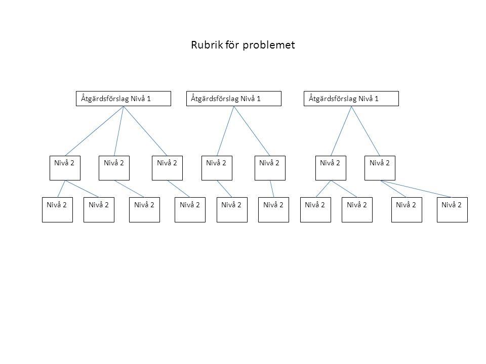 Rubrik för problemet Åtgärdsförslag Nivå 1 Nivå 2