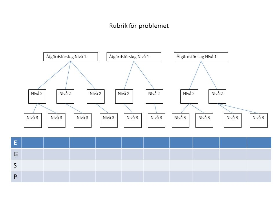 Rubrik för problemet Åtgärdsförslag Nivå 1 Nivå 2 Nivå 3 E G S P