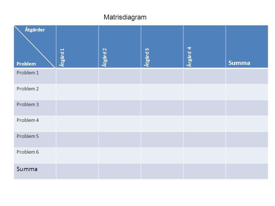 Åtgärder Problem Åtgärd 1Åtgärd 2 Åtgärd 3 Årgärd 4 Summa Problem 1 Problem 2 Problem 3 Problem 4 Problem 5 Problem 6 Summa Matrisdiagram