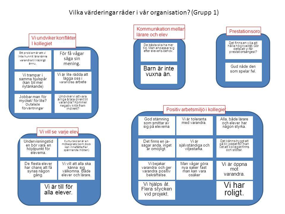 Vilka värderingar råder i vår organisation? (Grupp 1) Ett problem är att vi inte hunnit lära känna varandra tillräckligt ännu. Vi trampar i samma hjul