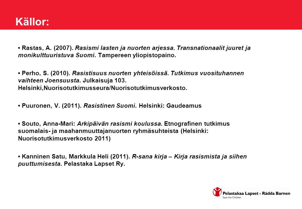 Källor: Rastas, A. (2007). Rasismi lasten ja nuorten arjessa. Transnationaalit juuret ja monikulttuuristuva Suomi. Tampereen yliopistopaino. Perho, S.