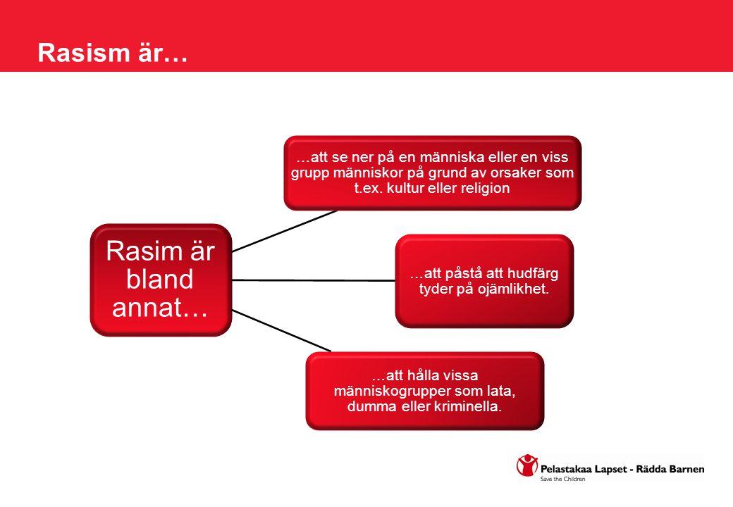 Rasim är bland annat… …att se ner på en människa eller en viss grupp människor på grund av orsaker som t.ex. kultur eller religion …att påstå att hudf