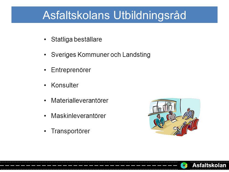Asfaltskolan Asfaltskolans Utbildningsråd Statliga beställare Sveriges Kommuner och Landsting Entreprenörer Konsulter Materialleverantörer Maskinleverantörer Transportörer