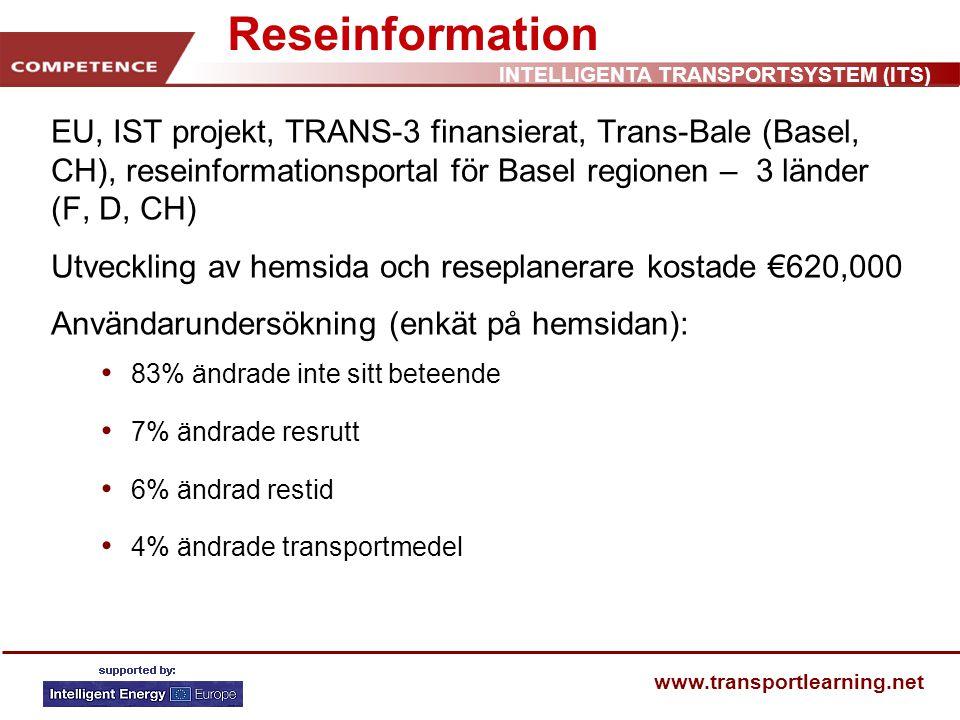 INTELLIGENTA TRANSPORTSYSTEM (ITS) www.transportlearning.net Reseinformation EU, IST projekt, TRANS-3 finansierat, Trans-Bale (Basel, CH), reseinformationsportal för Basel regionen – 3 länder (F, D, CH) Utveckling av hemsida och reseplanerare kostade €620,000 Användarundersökning (enkät på hemsidan): 83% ändrade inte sitt beteende 7% ändrade resrutt 6% ändrad restid 4% ändrade transportmedel