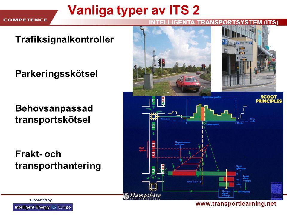 INTELLIGENTA TRANSPORTSYSTEM (ITS) www.transportlearning.net Vanliga typer av ITS 3 Olycksdrabbade vägkorsningar och sträckor Reseplanerare Passagerarinformation Navigerings- och färdvägsplanering