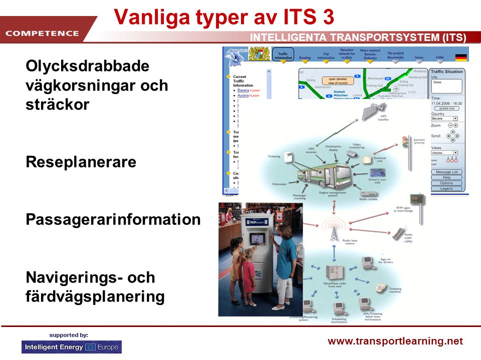 INTELLIGENTA TRANSPORTSYSTEM (ITS) www.transportlearning.net Vanliga typer av ITS 3 Olycksdrabbade vägkorsningar och sträckor Reseplanerare Passagerarinformation Navigerings- och färdvägsplanering