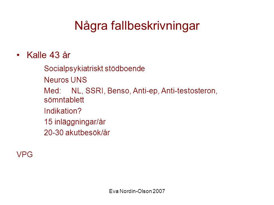 Eva Nordin-Olson 2007 Erik54 år Utvecklingsstörning Autism Blind Rörelsehinder Oro, inte sig lik Anfallsvis, utan yttre trigger