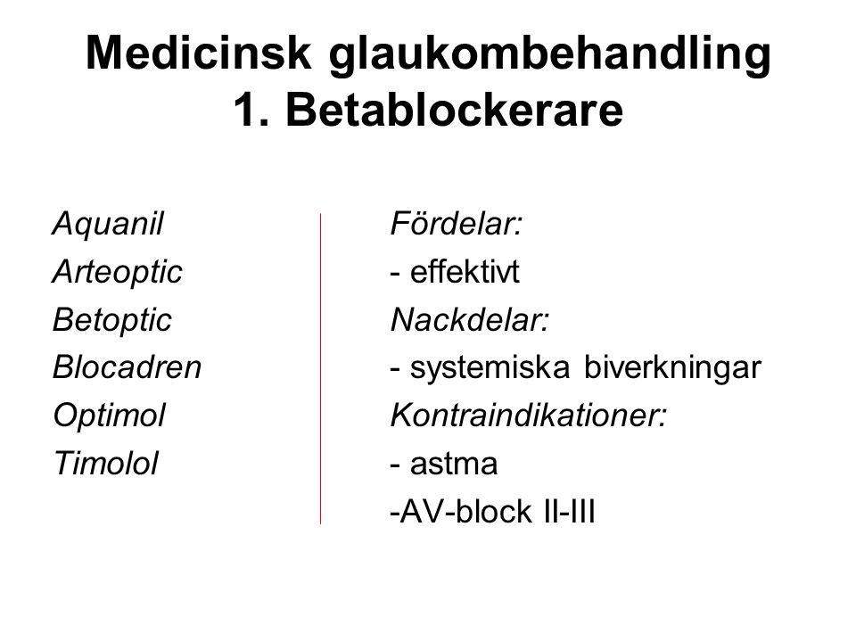 Medicinsk glaukombehandling 1. Betablockerare Aquanil Arteoptic Betoptic Blocadren Optimol Timolol Fördelar: - effektivt Nackdelar: - systemiska biver