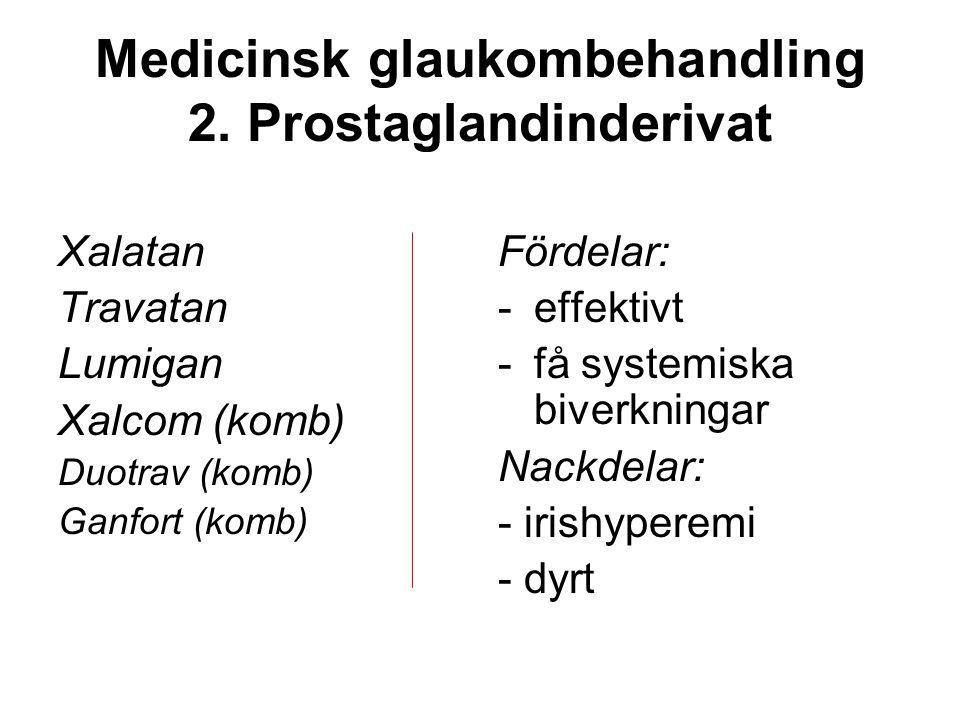 Medicinsk glaukombehandling 2. Prostaglandinderivat Xalatan Travatan Lumigan Xalcom (komb) Duotrav (komb) Ganfort (komb) Fördelar: -effektivt -få syst