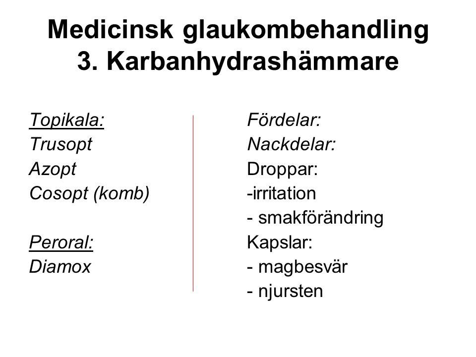 Medicinsk glaukombehandling 3. Karbanhydrashämmare Topikala: Trusopt Azopt Cosopt (komb) Peroral: Diamox Fördelar: Nackdelar: Droppar: -irritation - s