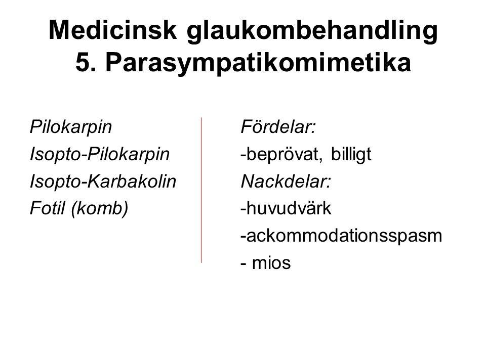 Medicinsk glaukombehandling 5. Parasympatikomimetika Pilokarpin Isopto-Pilokarpin Isopto-Karbakolin Fotil (komb) Fördelar: -beprövat, billigt Nackdela