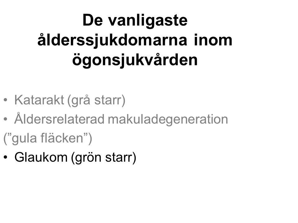 """De vanligaste ålderssjukdomarna inom ögonsjukvården Katarakt (grå starr) Åldersrelaterad makuladegeneration (""""gula fläcken"""") Glaukom (grön starr)"""
