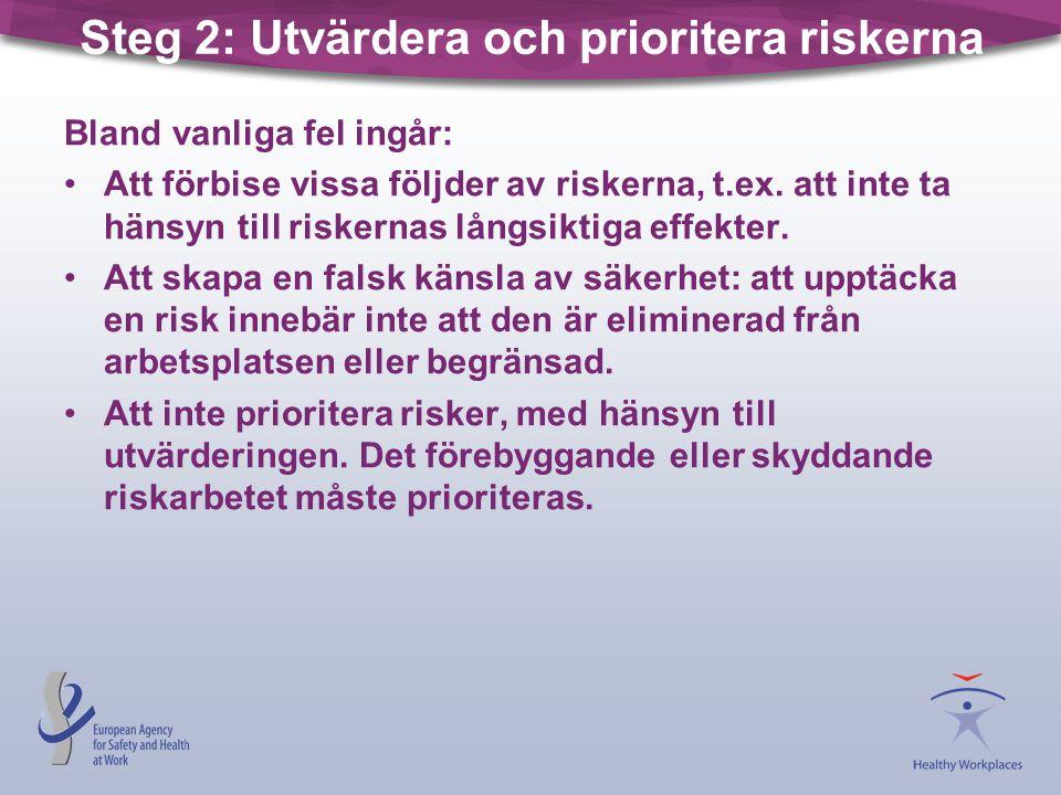 Steg 2: Utvärdera och prioritera riskerna Bland vanliga fel ingår: Att förbise vissa följder av riskerna, t.ex. att inte ta hänsyn till riskernas lång