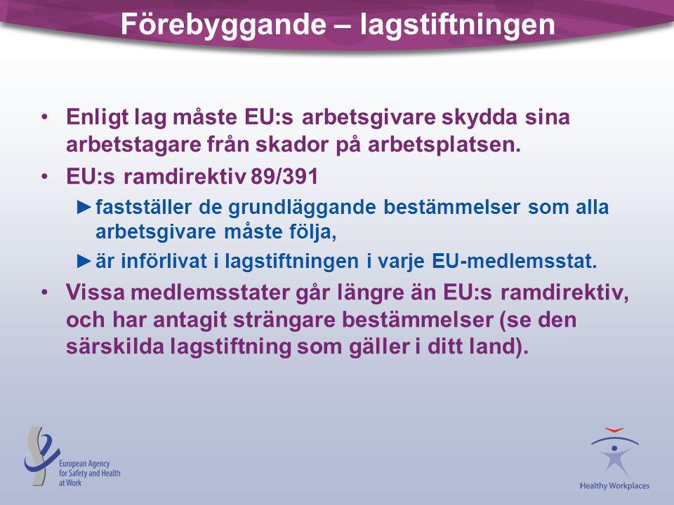 Förebyggande – lagstiftningen Enligt lag måste EU:s arbetsgivare skydda sina arbetstagare från skador på arbetsplatsen. EU:s ramdirektiv 89/391 ►fasts