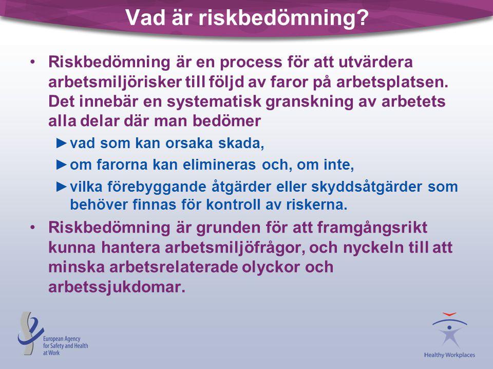 Vad är riskbedömning? Riskbedömning är en process för att utvärdera arbetsmiljörisker till följd av faror på arbetsplatsen. Det innebär en systematisk