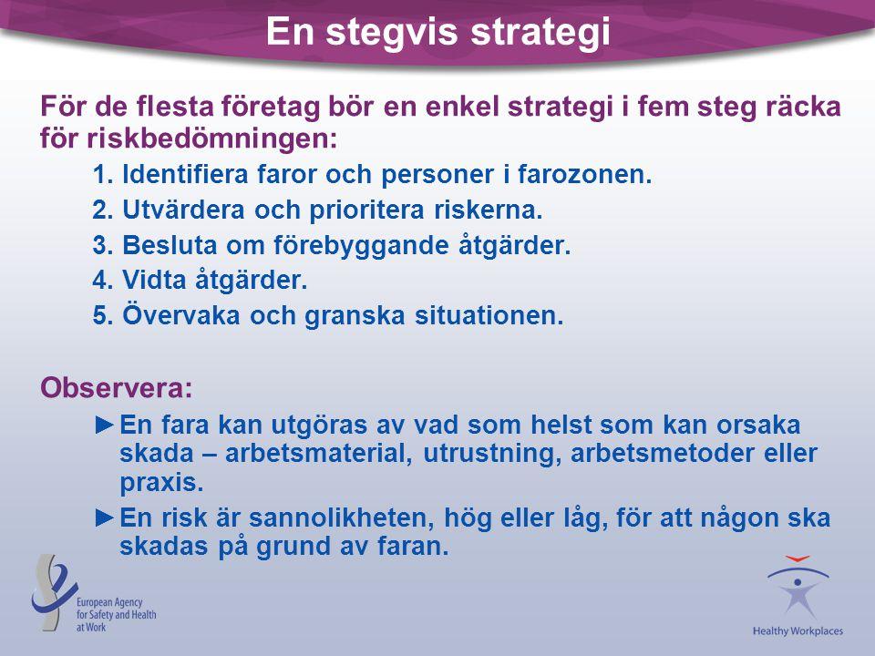 En stegvis strategi För de flesta företag bör en enkel strategi i fem steg räcka för riskbedömningen: 1. Identifiera faror och personer i farozonen. 2
