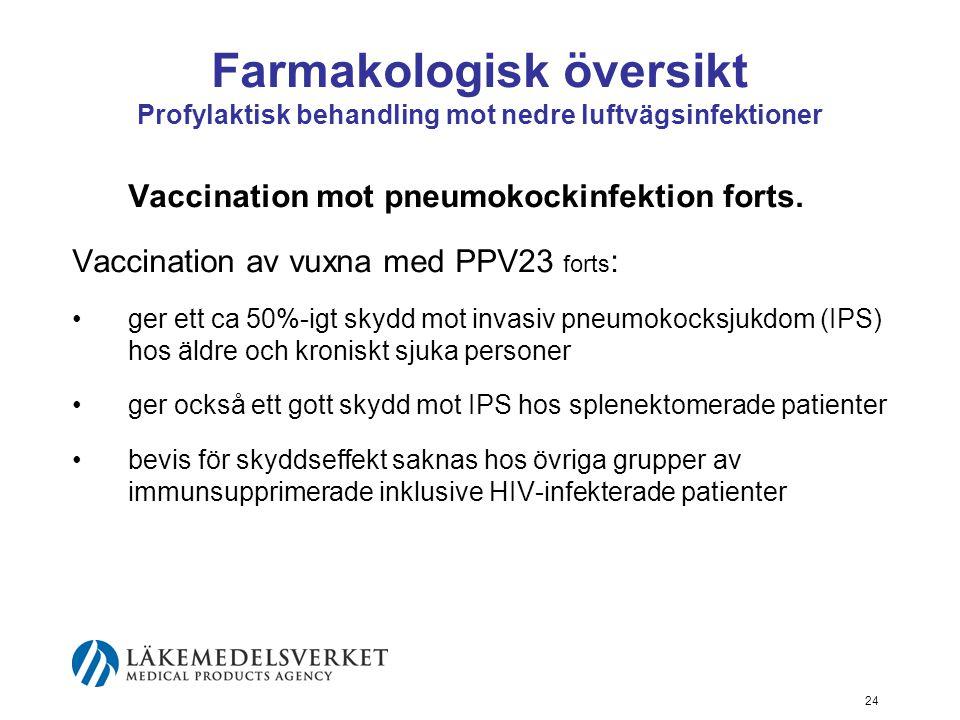 24 Farmakologisk översikt Profylaktisk behandling mot nedre luftvägsinfektioner Vaccination mot pneumokockinfektion forts.