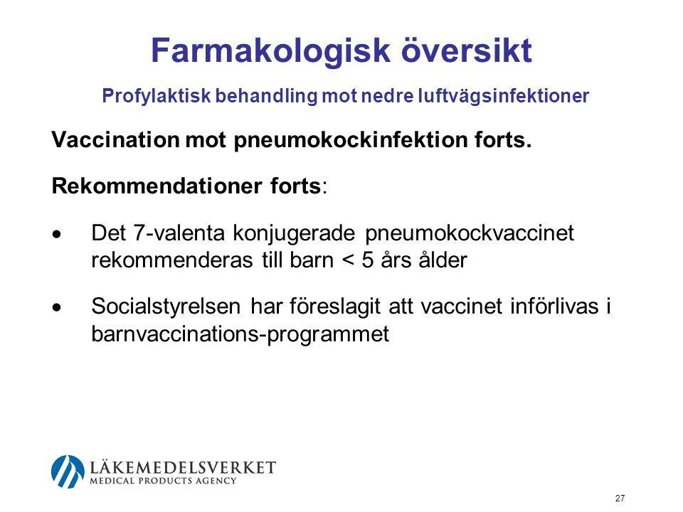 27 Farmakologisk översikt Profylaktisk behandling mot nedre luftvägsinfektioner Vaccination mot pneumokockinfektion forts.
