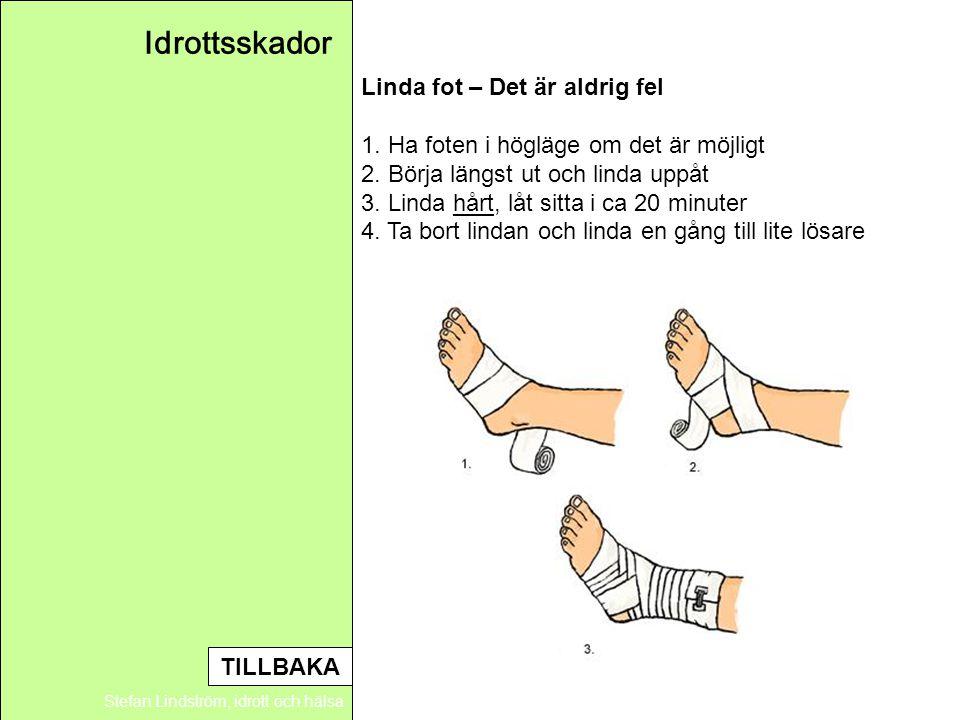 Idrottsskador Stefan Lindström, idrott och hälsa Linda fot – Det är aldrig fel 1. Ha foten i högläge om det är möjligt 2. Börja längst ut och linda up