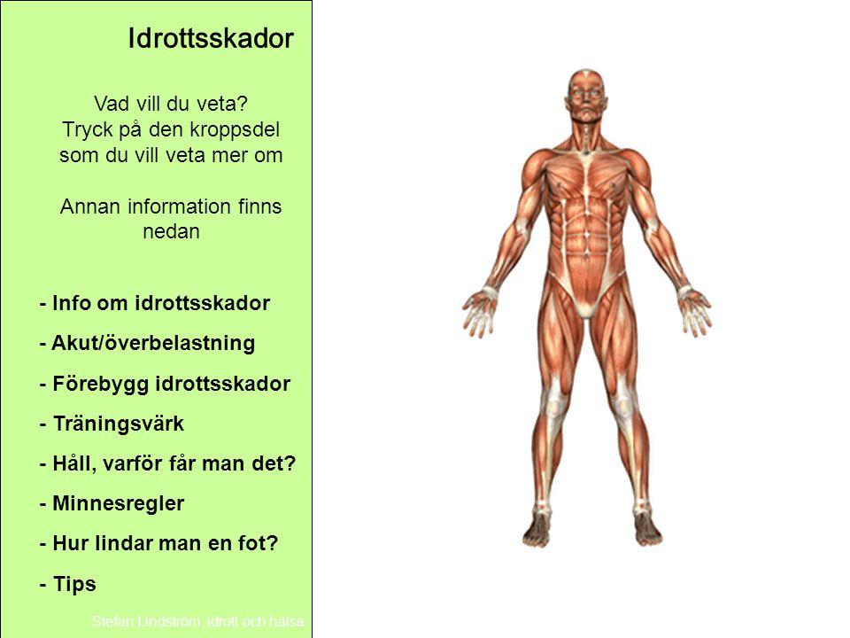 Idrottsskador Stefan Lindström, idrott och hälsa Vad vill du veta? Tryck på den kroppsdel som du vill veta mer om Annan information finns nedan - Hur