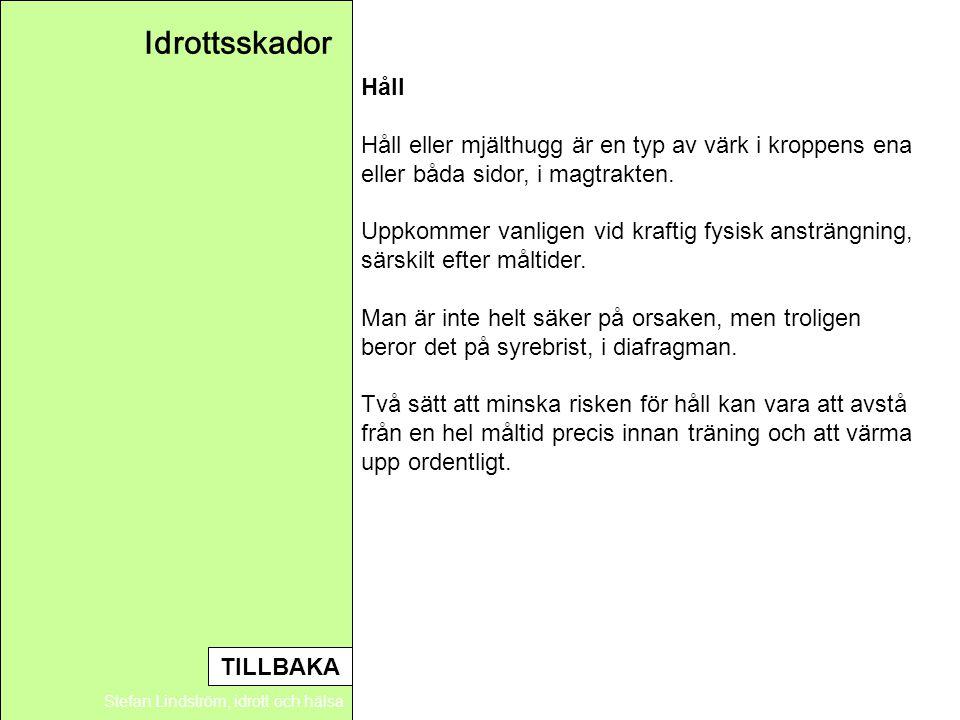 Idrottsskador Stefan Lindström, idrott och hälsa Håll Håll eller mjälthugg är en typ av värk i kroppens ena eller båda sidor, i magtrakten. Uppkommer