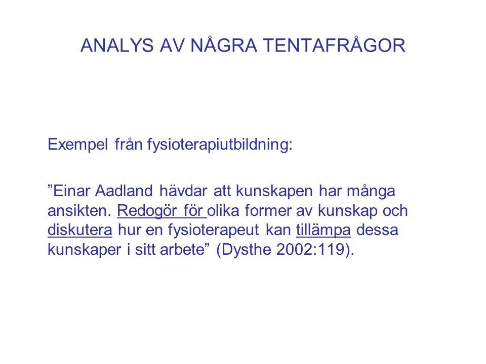 """ANALYS AV NÅGRA TENTAFRÅGOR Exempel från fysioterapiutbildning: """"Einar Aadland hävdar att kunskapen har många ansikten. Redogör för olika former av ku"""