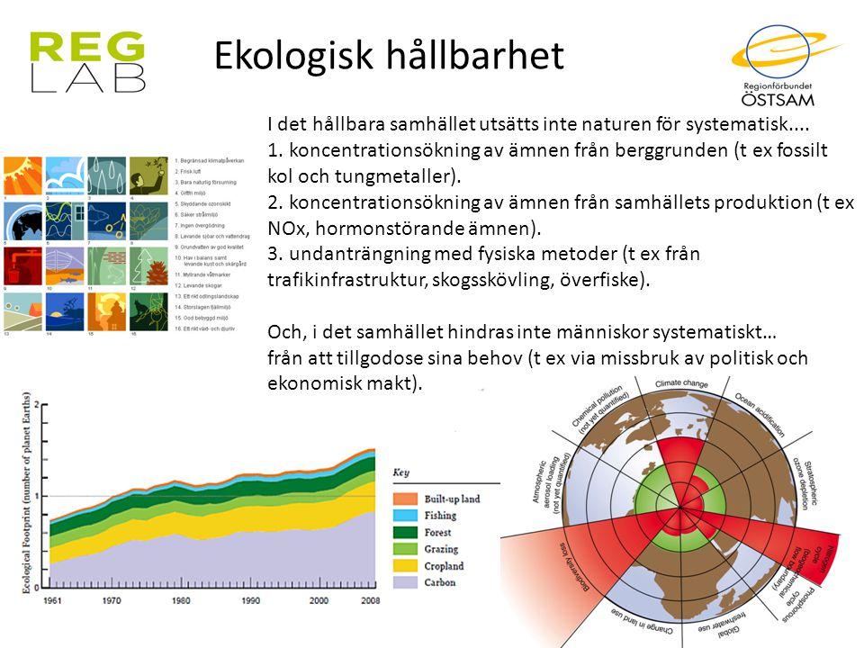 Ekologisk hållbarhet I det hållbara samhället utsätts inte naturen för systematisk.... 1. koncentrationsökning av ämnen från berggrunden (t ex fossilt