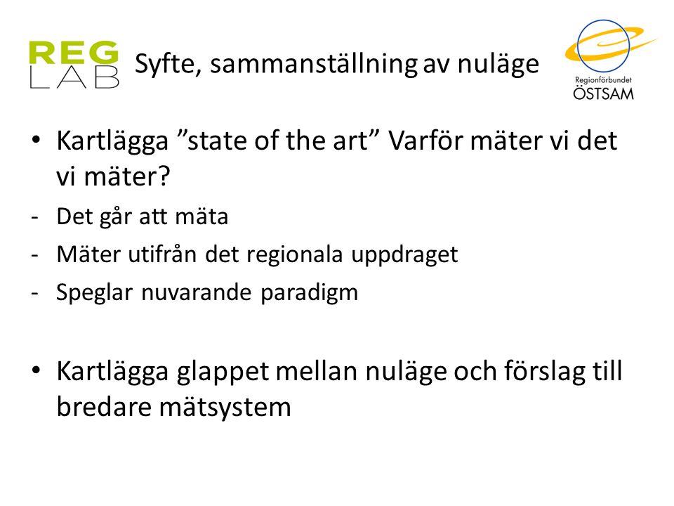 """Syfte, sammanställning av nuläge Kartlägga """"state of the art"""" Varför mäter vi det vi mäter? -Det går att mäta -Mäter utifrån det regionala uppdraget -"""