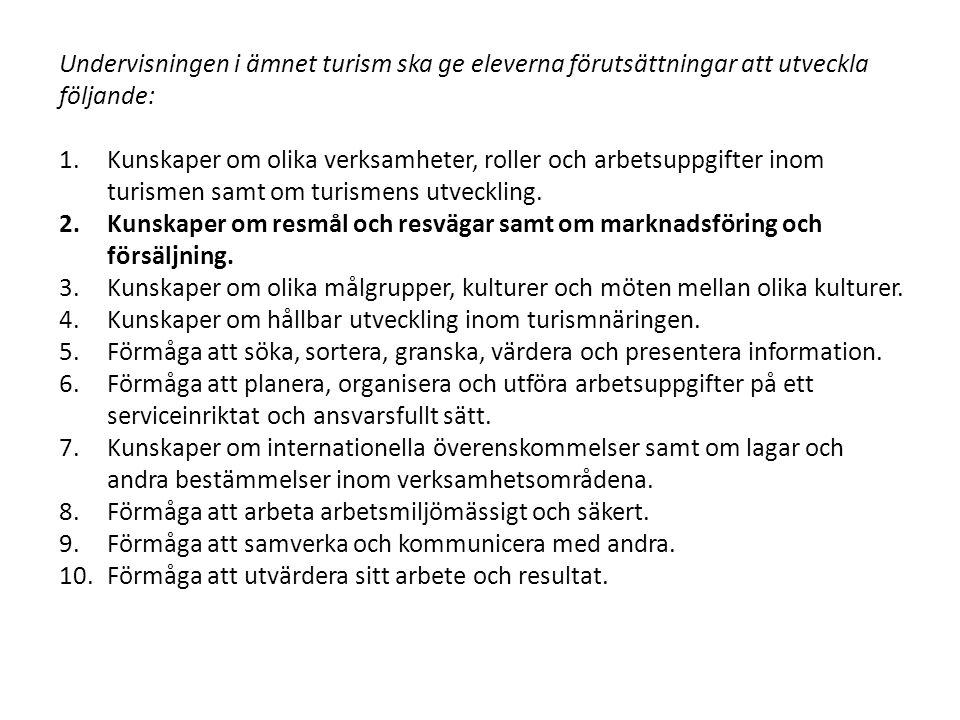 Mål 1 Vanliga resmål i Sverige och i andra länder.