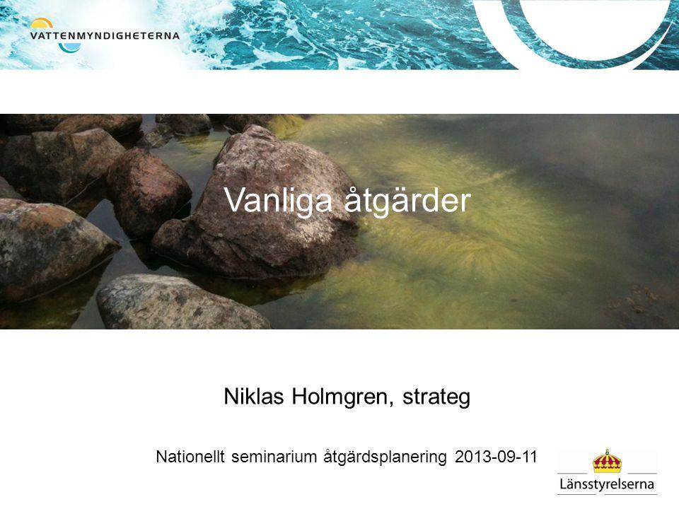 Niklas Holmgren, strateg Nationellt seminarium åtgärdsplanering 2013-09-11 Vanliga åtgärder