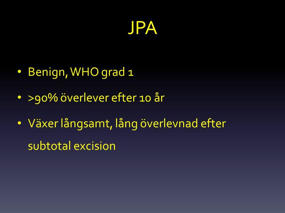 JPA Benign, WHO grad 1 >90% överlever efter 10 år Växer långsamt, lång överlevnad efter subtotal excision