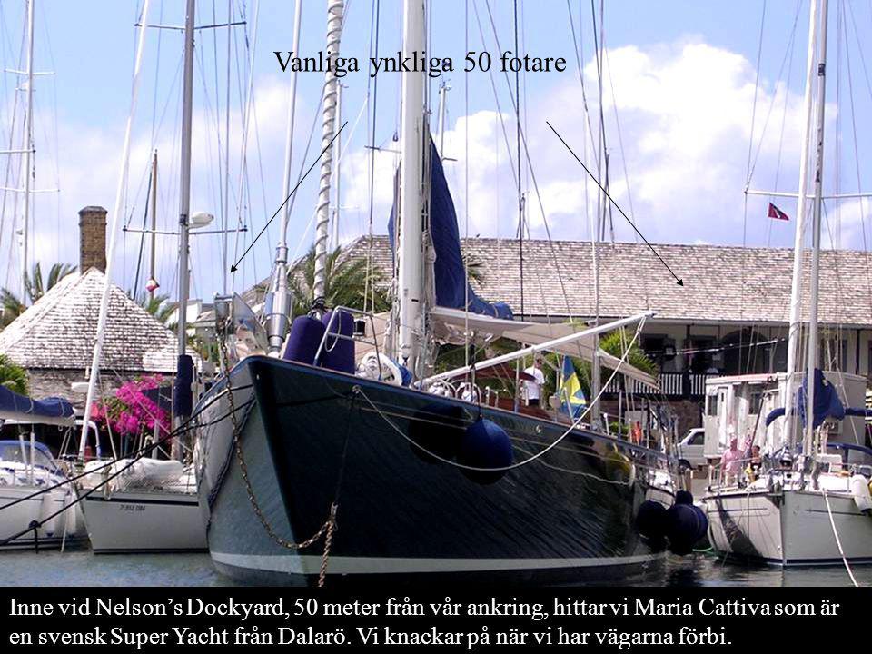 Inne vid Nelson's Dockyard, 50 meter från vår ankring, hittar vi Maria Cattiva som är en svensk Super Yacht från Dalarö.