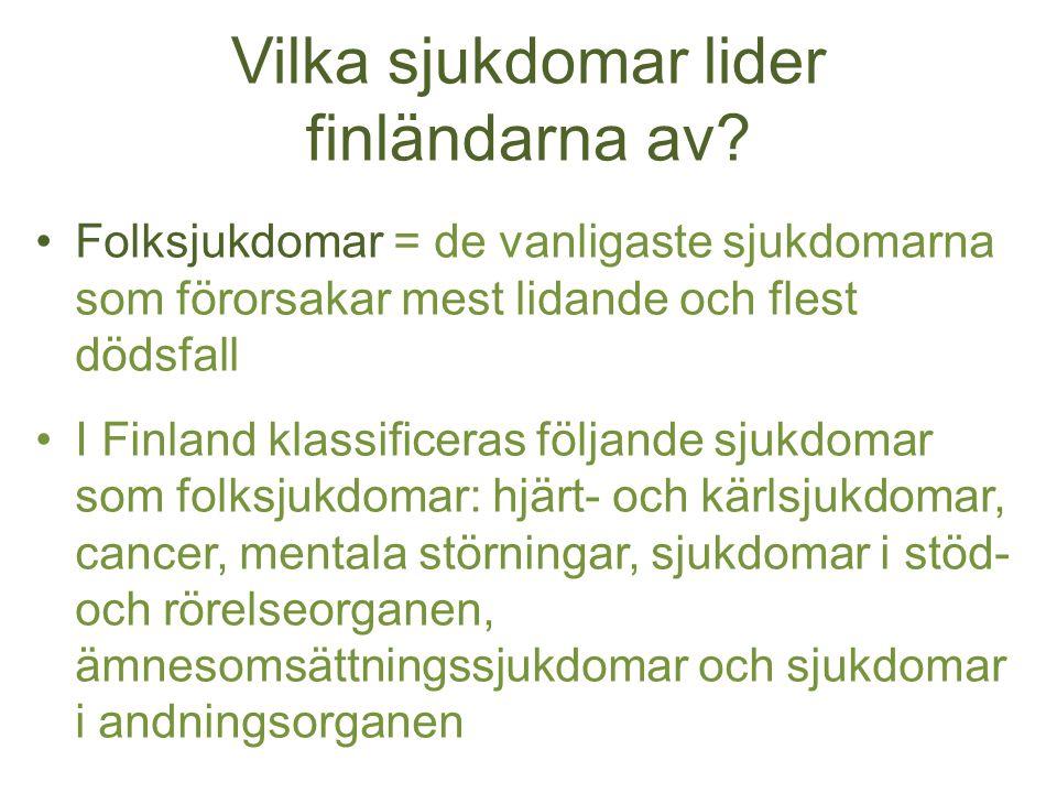 Vilka sjukdomar lider finländarna av? Folksjukdomar = de vanligaste sjukdomarna som förorsakar mest lidande och flest dödsfall I Finland klassificeras