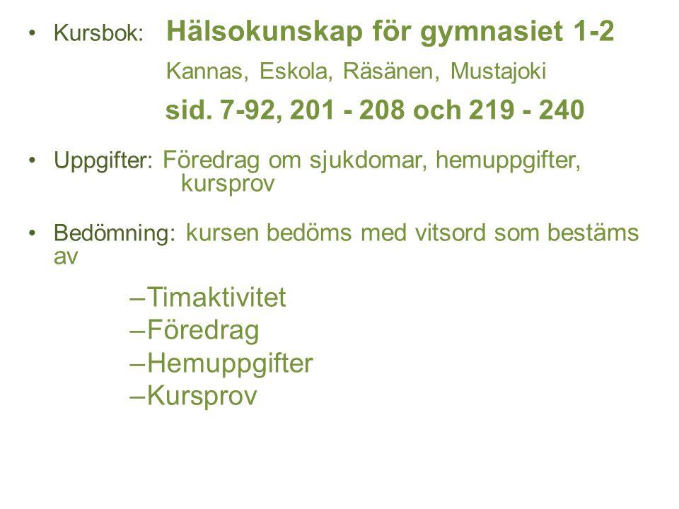 Kursbok: Hälsokunskap för gymnasiet 1-2 Kannas, Eskola, Räsänen, Mustajoki sid. 7-92, 201 - 208 och 219 - 240 Uppgifter: Föredrag om sjukdomar, hemupp