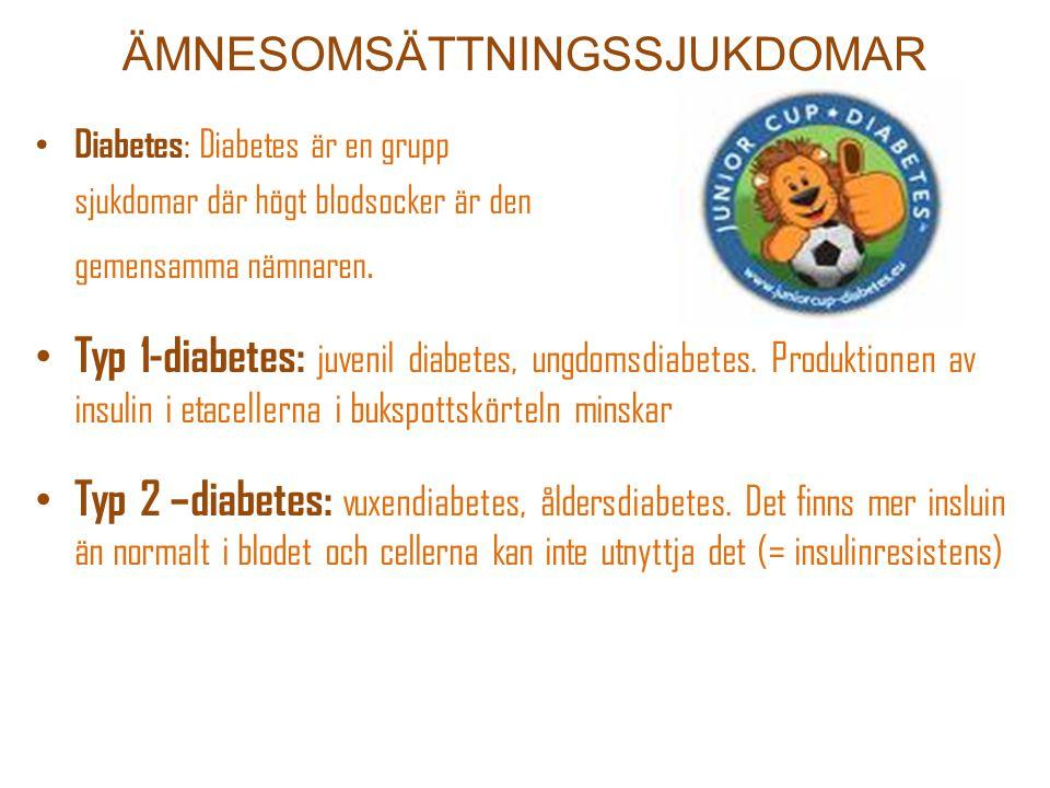 ÄMNESOMSÄTTNINGSSJUKDOMAR Diabetes : Diabetes är en grupp sjukdomar där högt blodsocker är den gemensamma nämnaren. Typ 1-diabetes: juvenil diabetes,