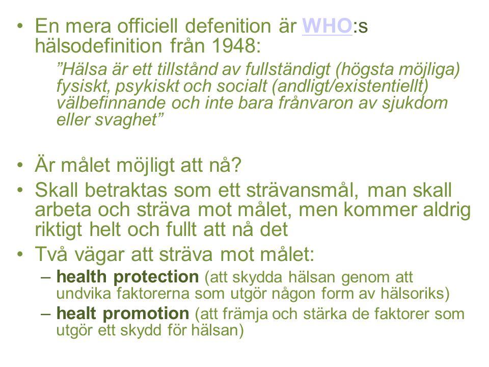 """En mera officiell defenition är WHO:s hälsodefinition från 1948:WHO """"Hälsa är ett tillstånd av fullständigt (högsta möjliga) fysiskt, psykiskt och soc"""