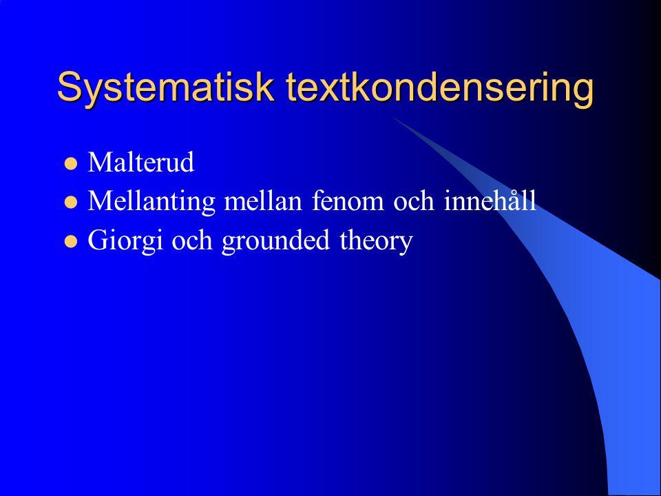 Systematisk textkondensering Malterud Mellanting mellan fenom och innehåll Giorgi och grounded theory