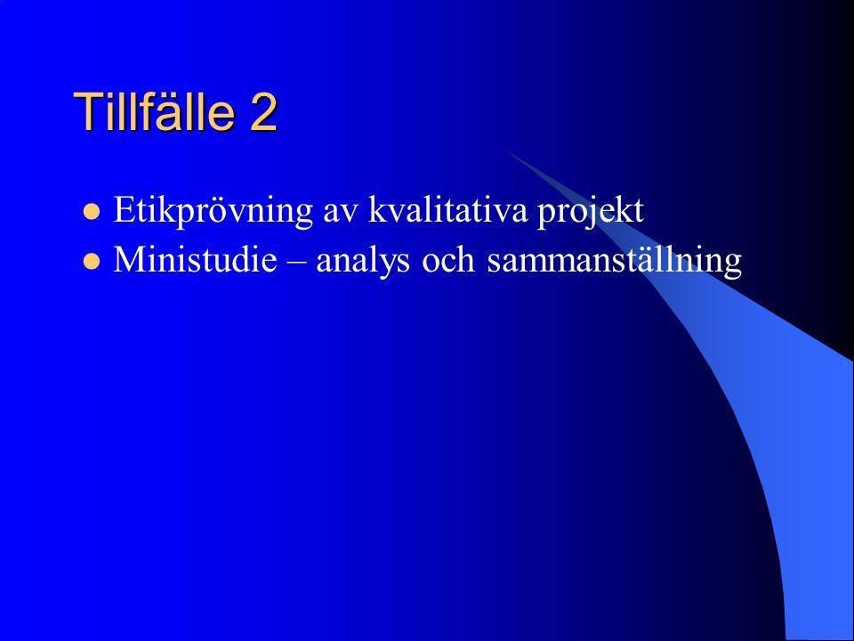Tillfälle 2 Etikprövning av kvalitativa projekt Ministudie – analys och sammanställning