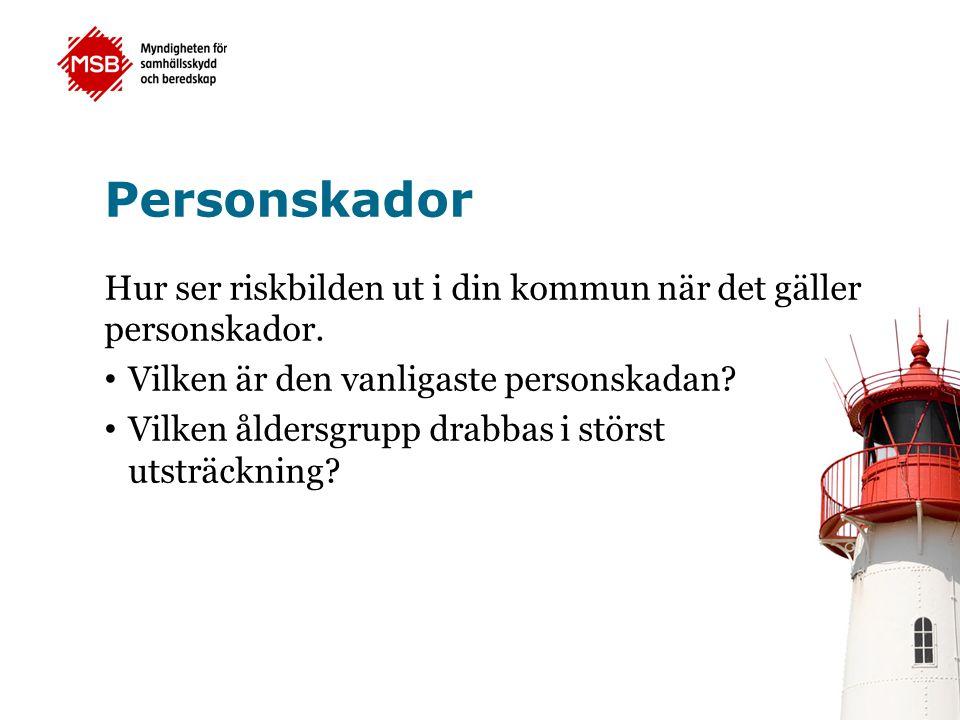 Personskador Hur ser riskbilden ut i din kommun när det gäller personskador. Vilken är den vanligaste personskadan? Vilken åldersgrupp drabbas i störs